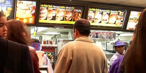 People in line buying fastfood