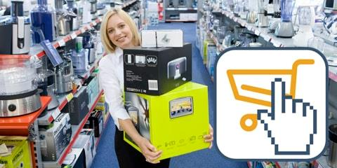 Woman buying kichten appliances in electronics store