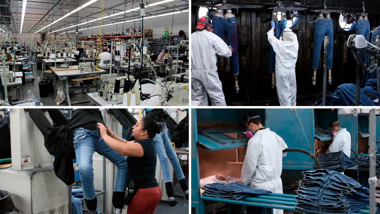 Collage of people working at factory of Citizens of Humanity