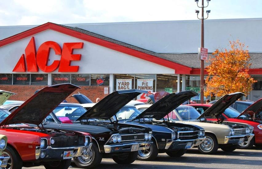 Ace Hardware cars in front of store