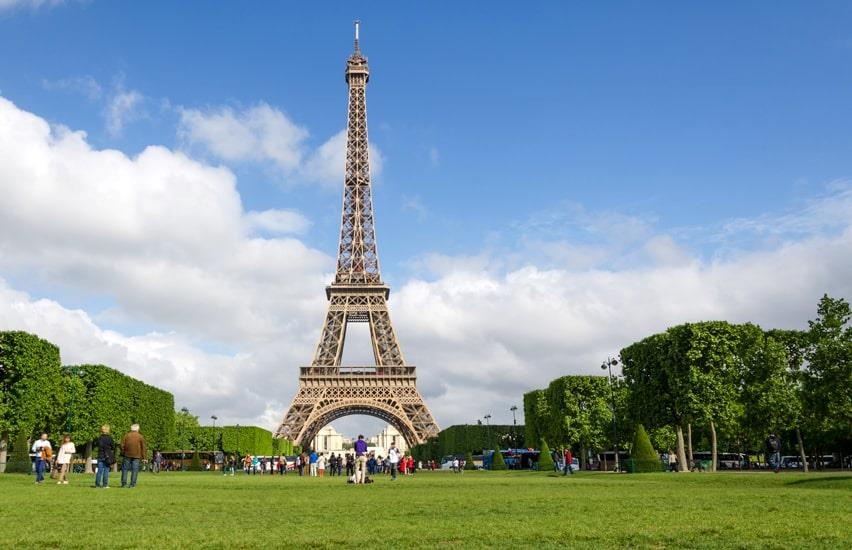 Eiffel Tower and green lawn