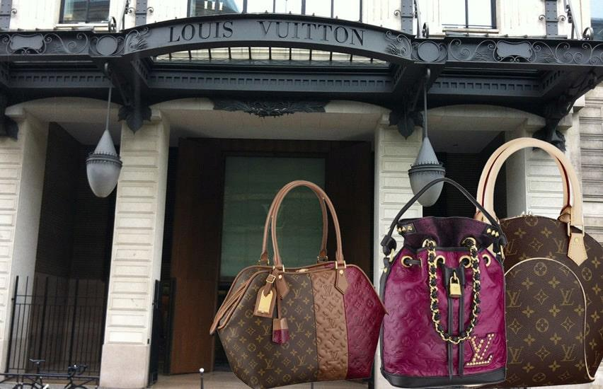 Louis Vuitton Main entrance and Louis Vuitton bags