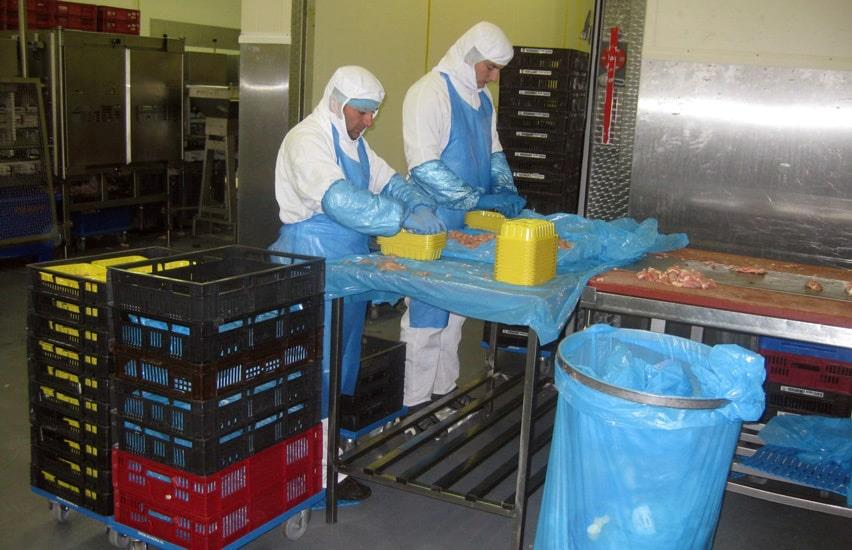 Two employees cutting chicken at assembly line
