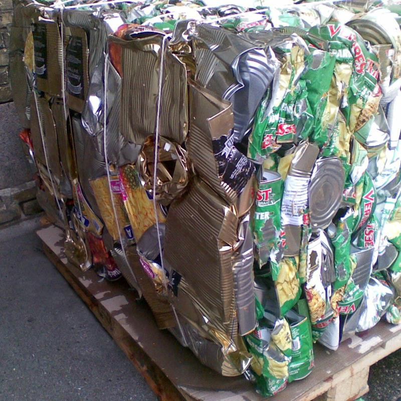 Bale of compacted food cans