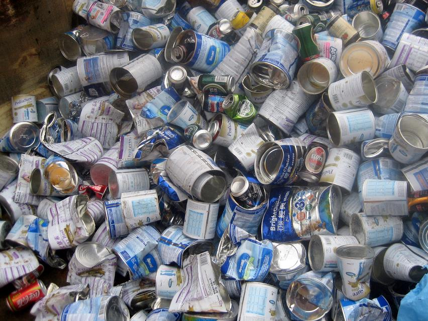Heap of empty food cans