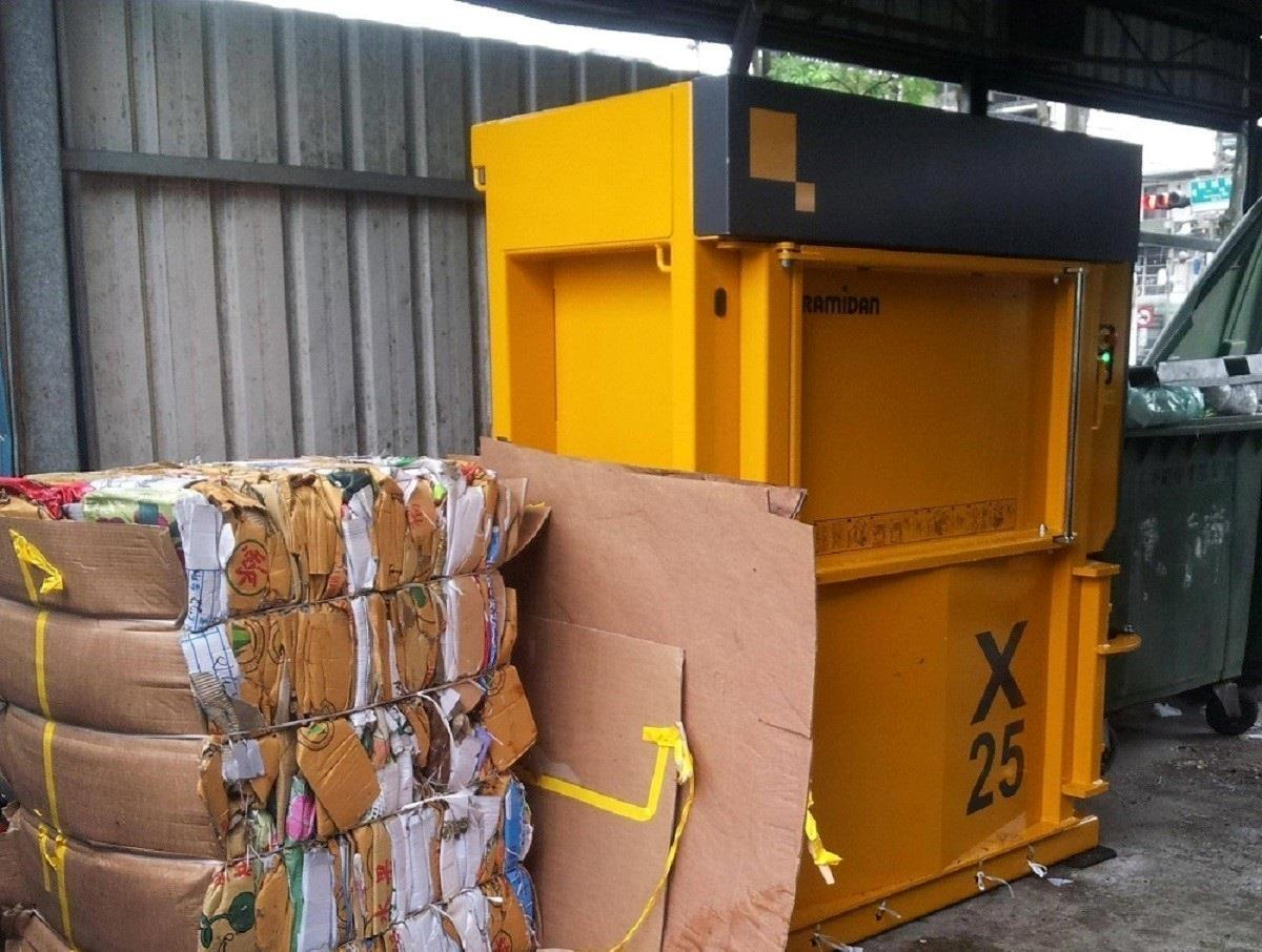 Installation of the baler outside the building