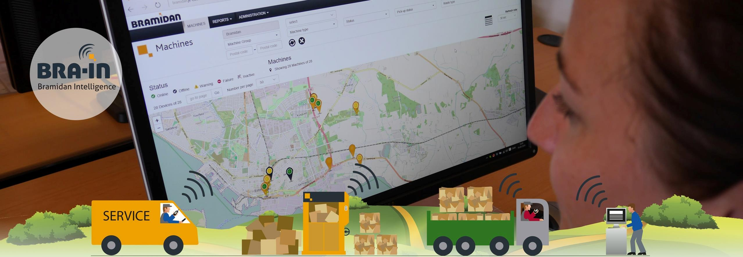 Graphics showing BramidanUSA Intelligent monitoring for balers and compactors