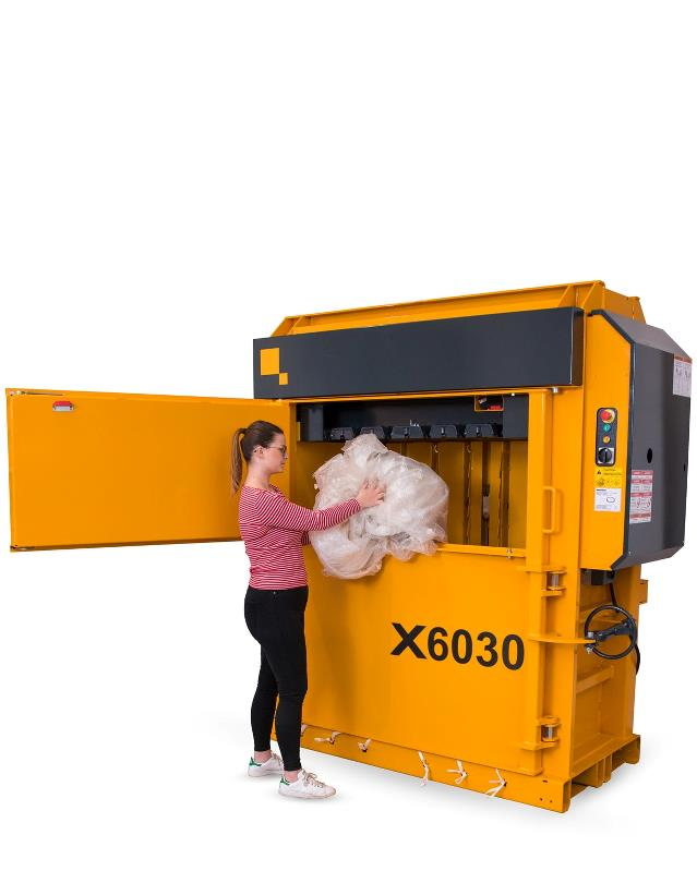 X6030 mill-size baler with Low Profile from BramidanUSA for cardboard and plastic