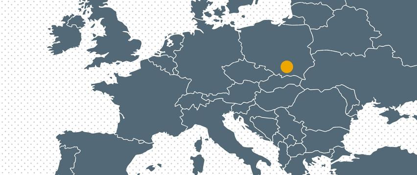 Map Europe with dot for Bramidan subsidiary in Poland