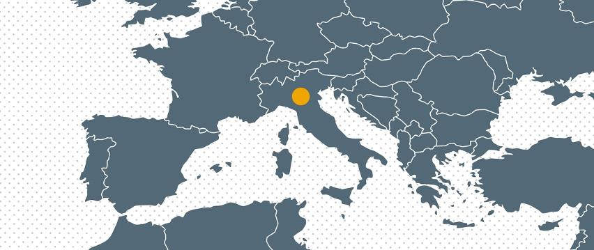 Map Europe with dot for Bramidan associated company in Italy