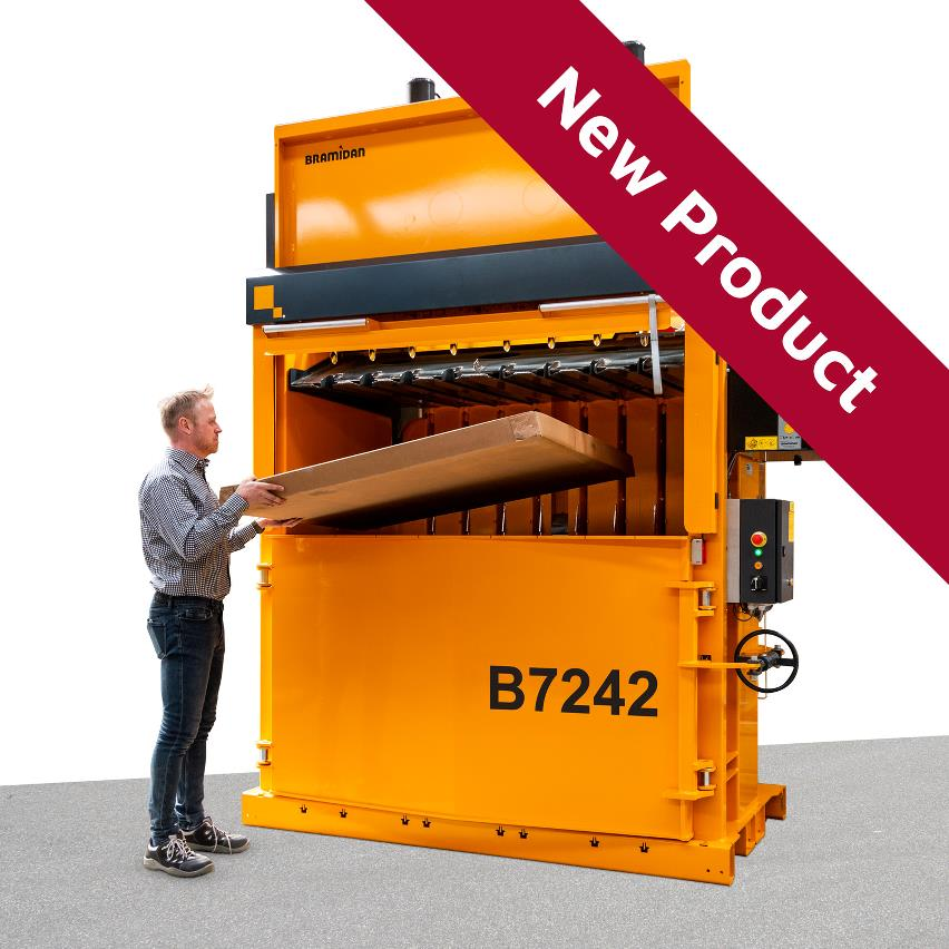 Bramidan Baler B7242 with very wide Sliding Door for waste compaction