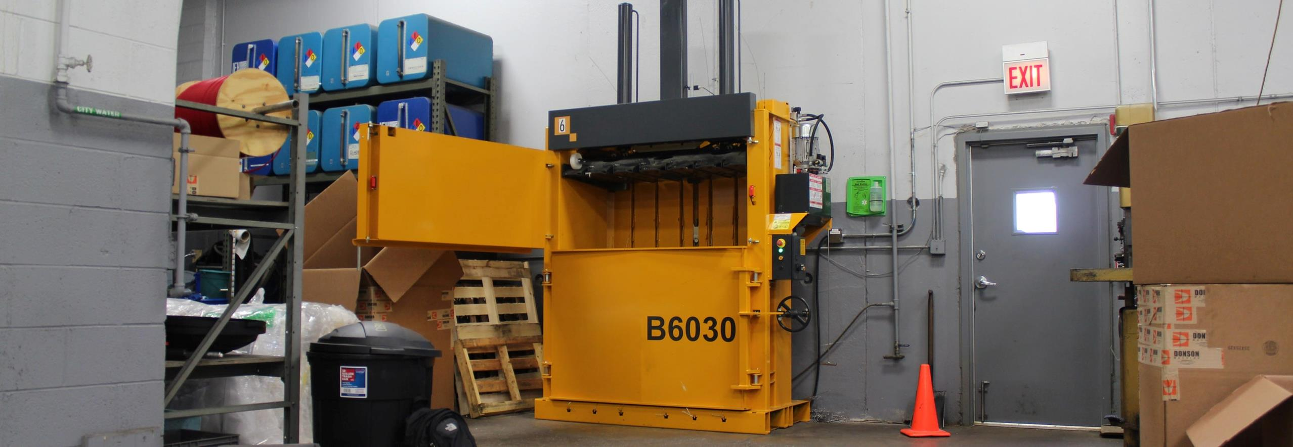 Bramidan Baler with wide filling opening located at Donson Machine warehouse