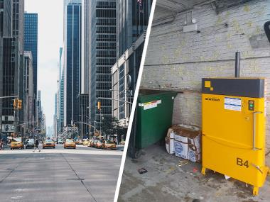Bramidan B4 baler for cardboard and plastic waste in Chicago high-rise building